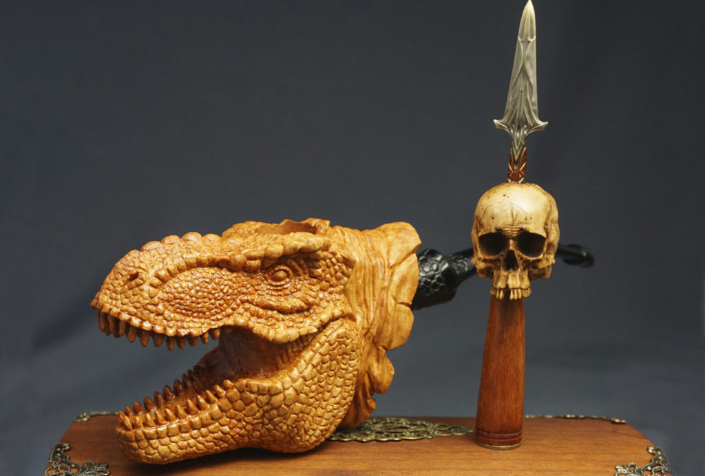 T-Rex - smoking pipe carved from briar wood