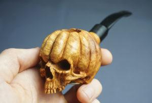 Halloween skull pumpkin pipe