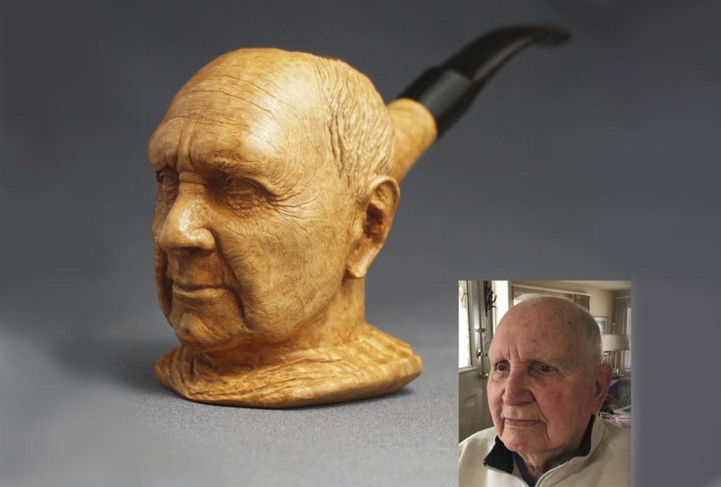Old man bust - briar pipe