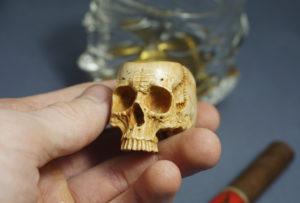 Skull - Wood Carved Cigar Holder