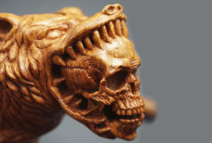 Wolf with skull — Smoking Pipe Briar Wood